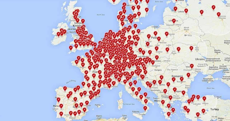 elektromobil, sieť nabíjacích staníc, európa, mapa