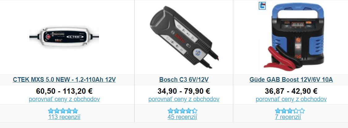 Heureka.sk, autonabíjačky, kontrola autobatérie
