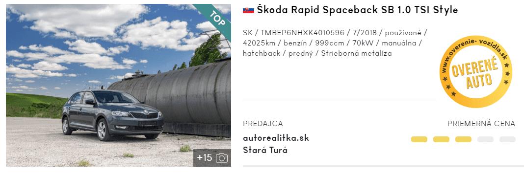 Škoda Rapid Spaceback, hatchback, inzerát