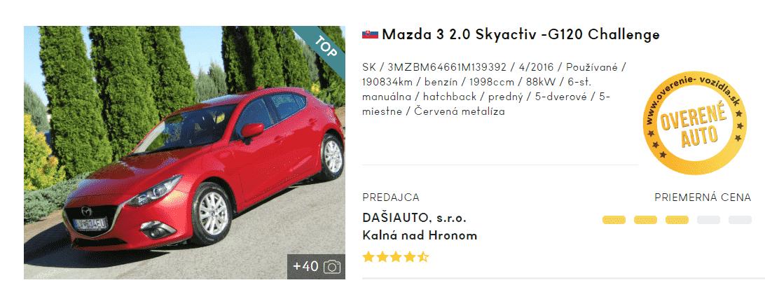 Mazda Skyactiv, hatchback, inzerát