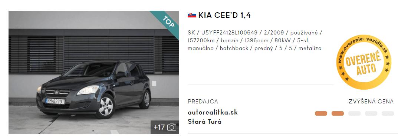 KIA CEE'D, hatchback, inzerát