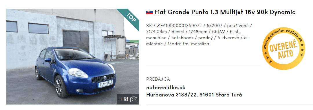 Fiat Grande Punto, hatchback, inzerát